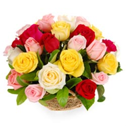Mixed Rose Basket