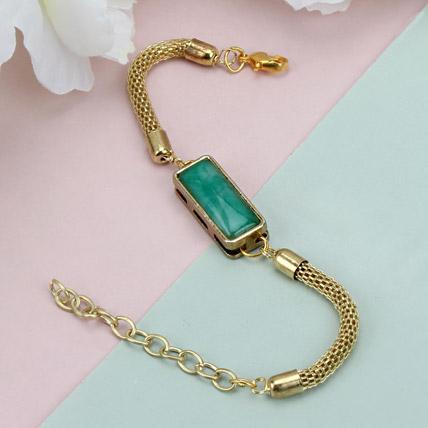 Premium Green Stone Rakhi BRA
