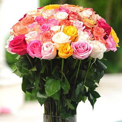 36 Multicolor roses in Vase