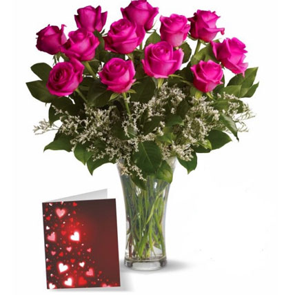 Dozen Pink Roses With Card