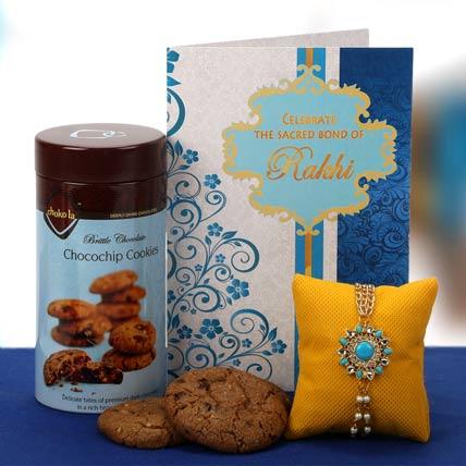 Exquisite Blue Stone Rakhi