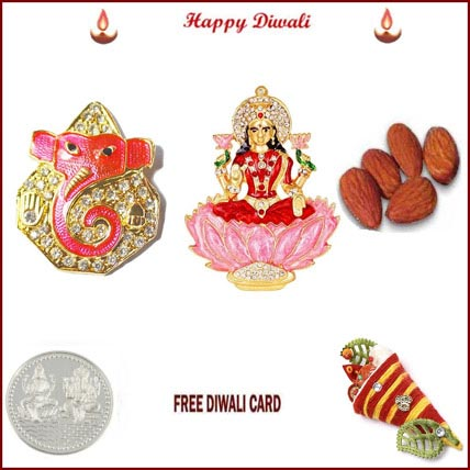 Laxmi Ganesh with 50 grams Almonds and Silver Coin