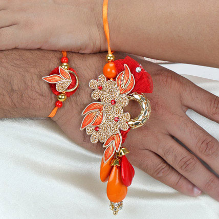 Zardosi with beads Lumba Rakhi Set FIN