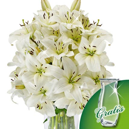 10 white lilies in a bunch