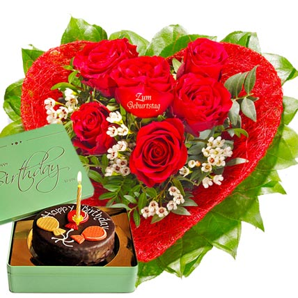 Rose Heart and Sacher Cake