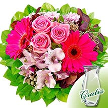 Flower Bouquet Ambiente with vase: Mothers Day Flowers to Germany