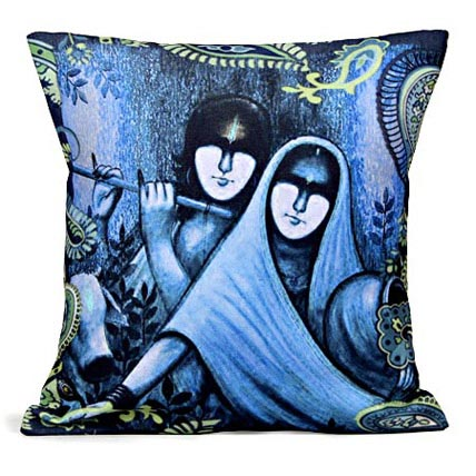 Blue Radha Krishan Cushion