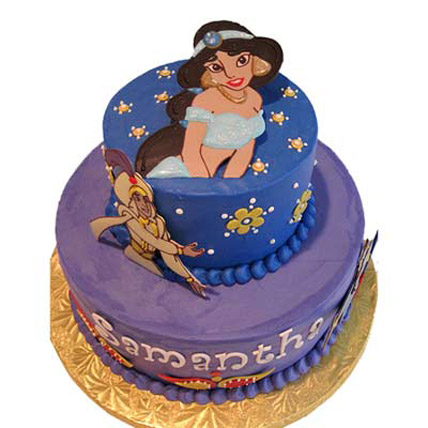 Bright cake with Aladdin Jasmine pictures 2kg Eggless
