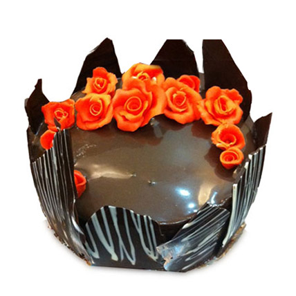 Chocolate Cake With Red Flowers Half kg Eggless