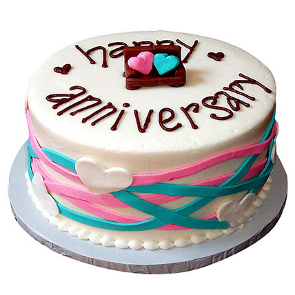 Colorful Anniversary Fondant Cake