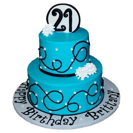 Dazzling Blue Birthday Cake 4kg Eggless