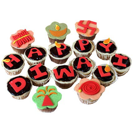 Deepavali Greetings Cupcakes 12 Eggless