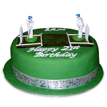 Designer Cricket Pitch Players Cake 1kg Eggless