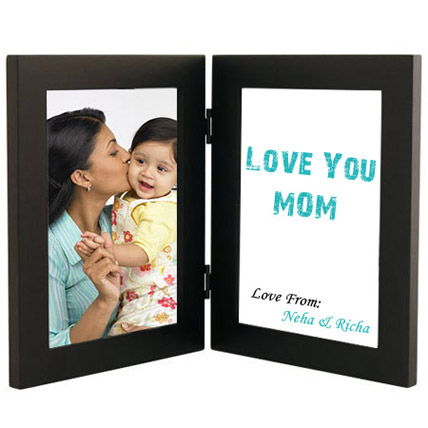 Double Folding Portrait Black Photo Frame