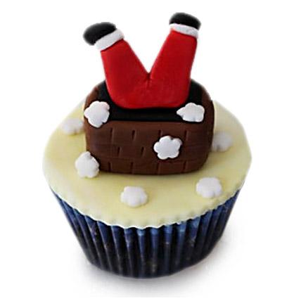 Falling Santa Cupcakes 12 Eggless