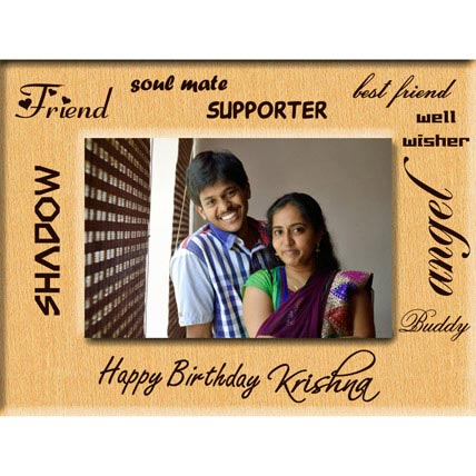 Friends Birthday Gift Wooden Engraved Photo Frame