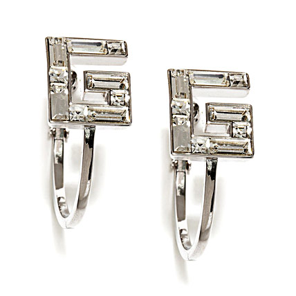 G Shape Earrings with Transparent Crystal