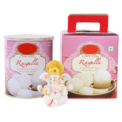 Ganesha Idol and Rasgullas
