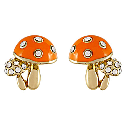 Gold plated orange color Mushroom shaped Earrings