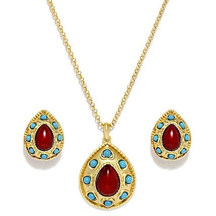 Gold plating Red Semi Precious Stone Jewelry Set
