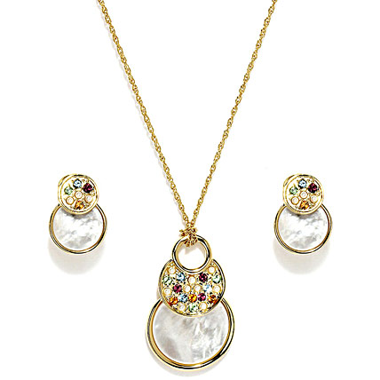 Gold plating Round Natural Shell Jewelry Set
