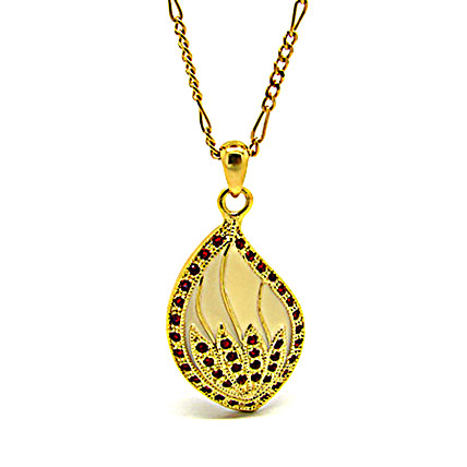 Golden Peacock Gold and Red Pendant With Chain