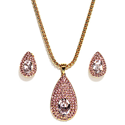 Golden Peacock Gold Plated Pink Jewelry Set