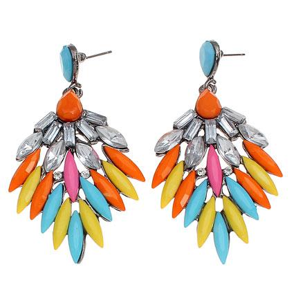 Golden Peacock Multi Colour Earring