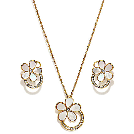 Golden Peacock Natural Shell Flower Jewelry Set