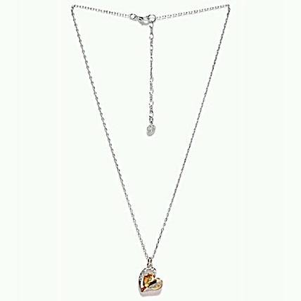 Golden Peacock Platinum Heart Shape Necklace