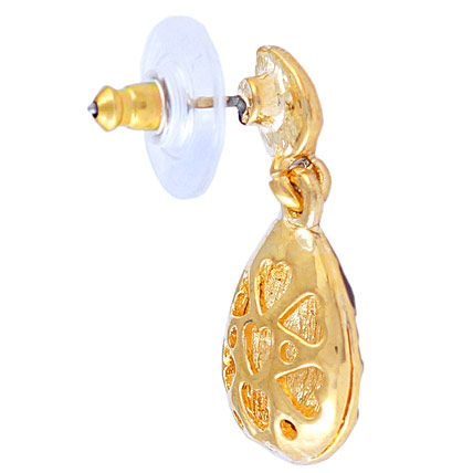 Golden Peacock White and Gold Plated Drop Earrings