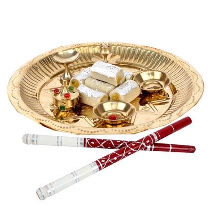 Golden Puja Thali and Dandiya