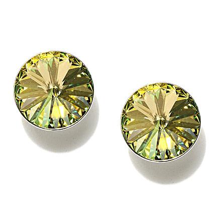 Green and Silver Swarovski Crystal Stud Earrings