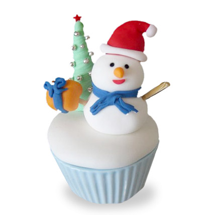 Happy Snowman Cupcakes 6 Eggless