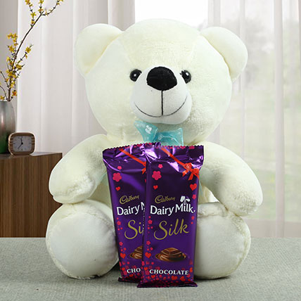 Lovable Teddy With Chocolate