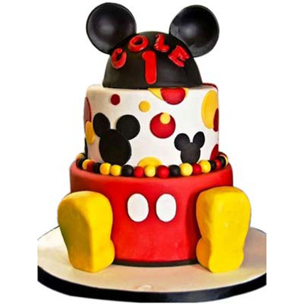Mickey Mouse 2 tier Cake 4kg Eggless