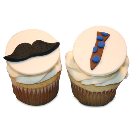 Moustache Tie Cupcakes 12 Eggless