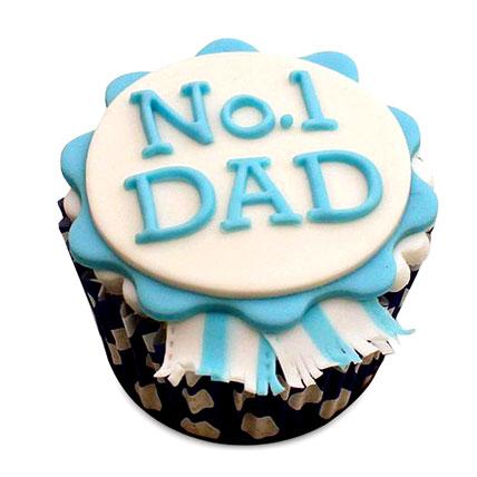 No.1 Dad Designer Cupcake 24 Eggless