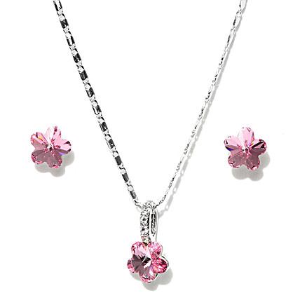 Pink and Silver Plated Swarovski Jewellery Set