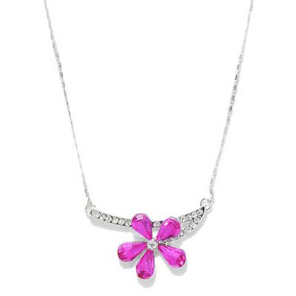 Pink and Silver Toned Flower Necklace
