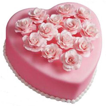 Pink Heart Cake 5kg Eggless