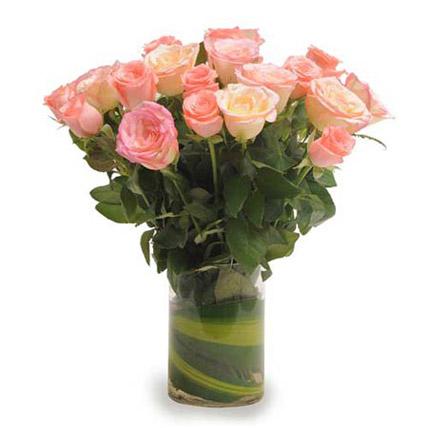 Pink Roses N Vase