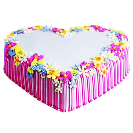 Pretty Heart Cake 5kg Eggless