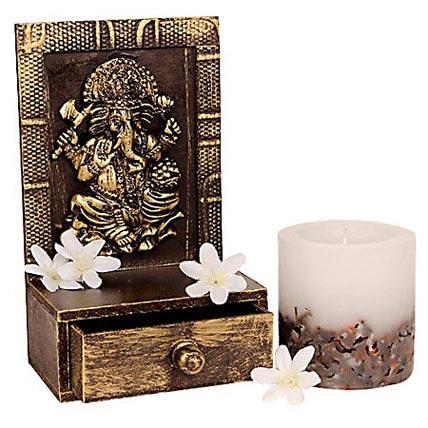 Prosperous Ganesha Candle Holder