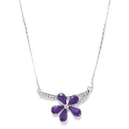 Purple and Silver Toned Flower Necklace