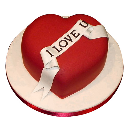 Red Heart love you Valentine cake 1kg