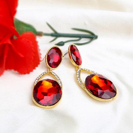 Red Pierced Earring
