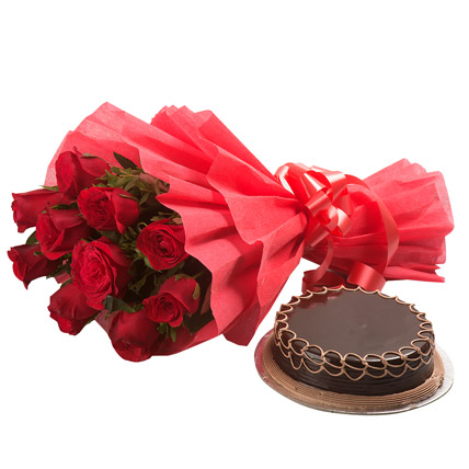 Red Roses with Cake By FNP