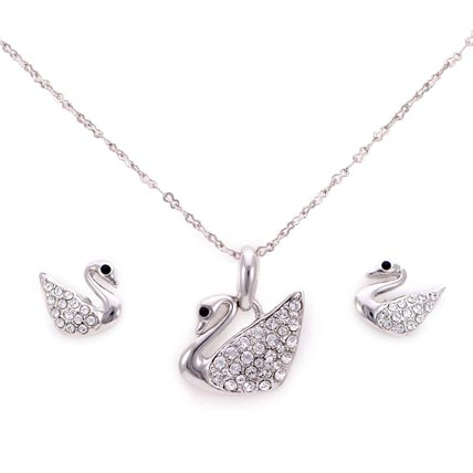 Silver Plated Peacock shaped Jewelry Set