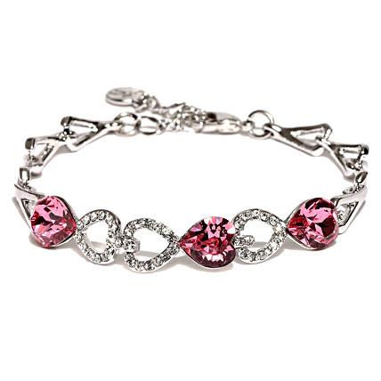 Silver Plated Swarovski Crystal Heart Bracelet